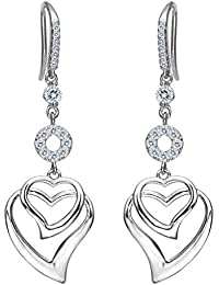 Women's 925 Sterling Silver CZ Sweet Love Heart Hook Dangle Earrings Clear