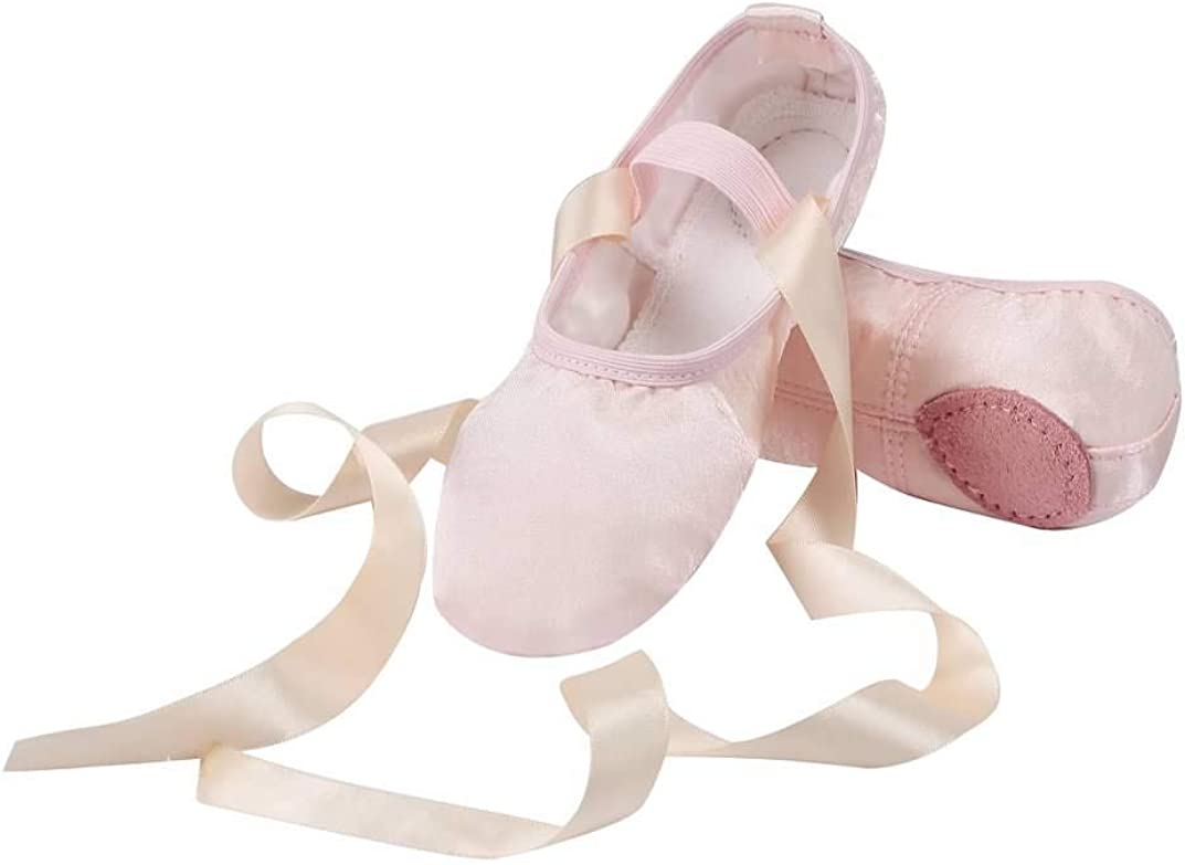 Linodes Stain Ballet Dance Shoes Split Sole with Ribbon for Girls and Boys (Toddler/Little Kid/Big Kid)