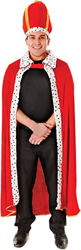 [Adult Kings Royal Fancy Dress Party Costume Robe & Crown Set Outfit] (King Robe & Crown Set Adult)