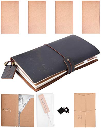 Traveler and More Refillable Leather Journal with Blank Lined Planner Graph Paper Notebooks and Vintage Present Box, ()