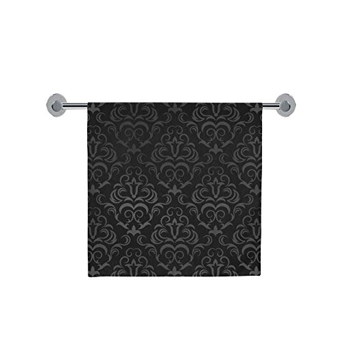 Soft And Comfortable Black Grey Damasks Bath Towel 30X56 Inc