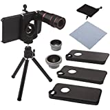 Neewer 3 in 1 Camera Screw-on Lense kit Includes 0.67X Wide Lens, Fisheye and 8X Telescope for iPhone 4/4S/5/5S/5C