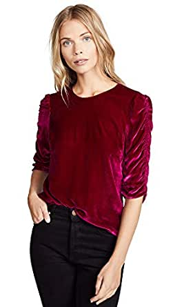Rebecca Taylor Women's Long Sleeve Ruched Velvet Top, Cranberry, 4