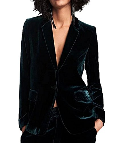 Women's Velvet Blazer Single Button Work Casual Open Front Short Coat Jacket in Deep Grenn,US4/L -