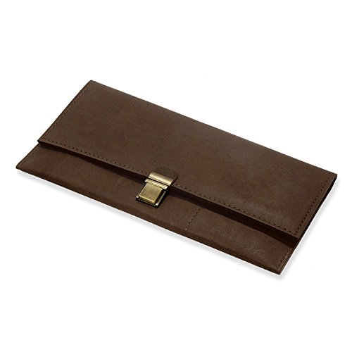 Handmade Genuine Dark Brown Leather Travel Case For Documents, Tickets  Money. Small Notebook Included
