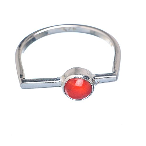 Red Coral Ring Size 8.5 (925 Sterling Silver) - Handmade Boho Vintage Jewelry RING905379