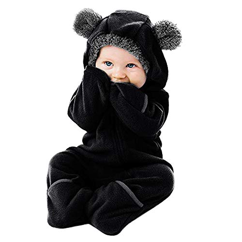 WUAI Baby Clothes Infant Toddler Baby Cartoon Ears Hoodie Romper Christmas Hooded Romper Jumpsuit Outfits(Black,0-3 -