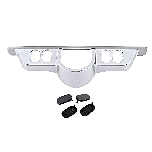 Windshield Panel Chrome (Chrome Switch Dash Panel Accent + Black Insert Cover Kit For Harley Davidson HD Electra Street Tri Glide)