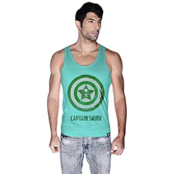Creo Green Cotton Round Neck Tank Top For Men