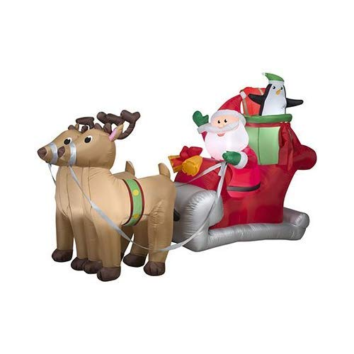 Gemmy 36855 Santa with Sleigh and Reindeer Christmas Inflatable 5 FT TALL x 8 FT LONG