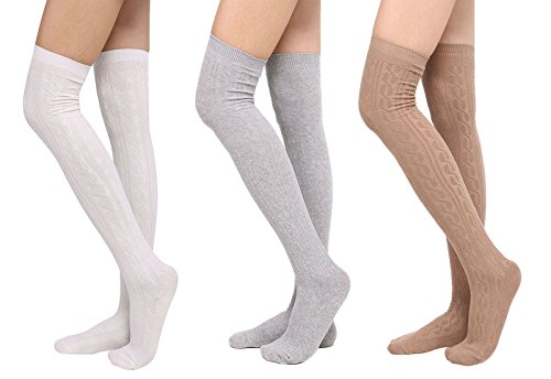 Womens Winter Kabel stricken über Knee High Tigh hohe Socken 1-3 Paar 3 Weiß + li.gry + kai