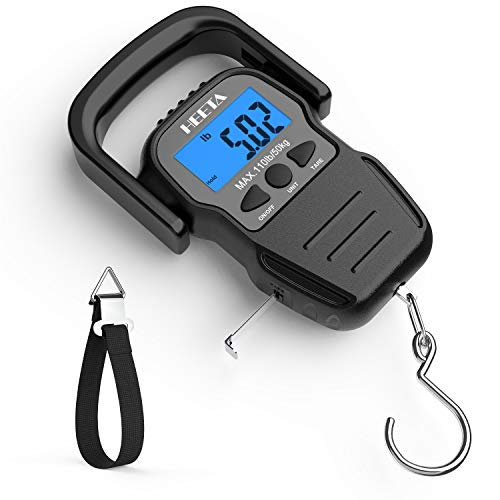HEETA Fish Scale with Backlit LCD Display, Digital Portable Hanging Scale Luggage Scale with Measuring Tape for Home and Outdoor, 2 AAA Batteries Included, Black best to buy