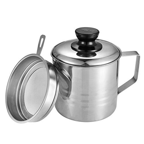 (Uarter Oil Strainer Pot Grease Can, 1.5 Quart Stainless Steel Oil Storage Can Container with Fine Mesh Strainer, Suitable for Storing Frying Oil and Cooking Grease, Sliver)