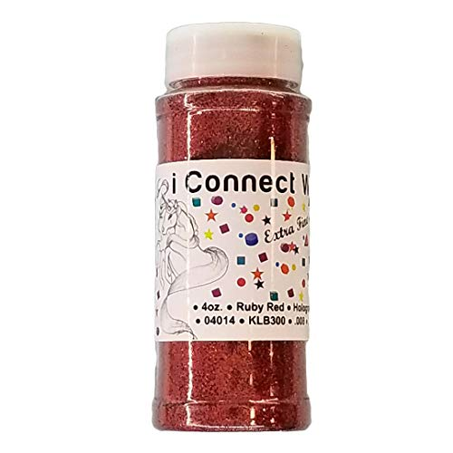 Ruby Red, Extra Fine Holographic Glitter 1/128, 4oz Shaker Bottle ()