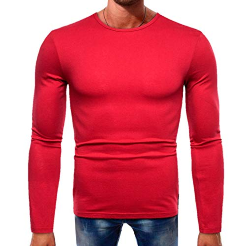 Clearance Sale Men Fashion Long-Sleeve Splicing T Shirt - vermers Women Casual Basic Solid Blouse Tops(L, Red) by vermers