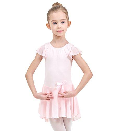 Ferlema Girls' Flutter Sleeve Skirted Ballet Leotard│Gymnastics Dance Dress for Girl/Toddler/Kid (3 Piece 4 Body Type)