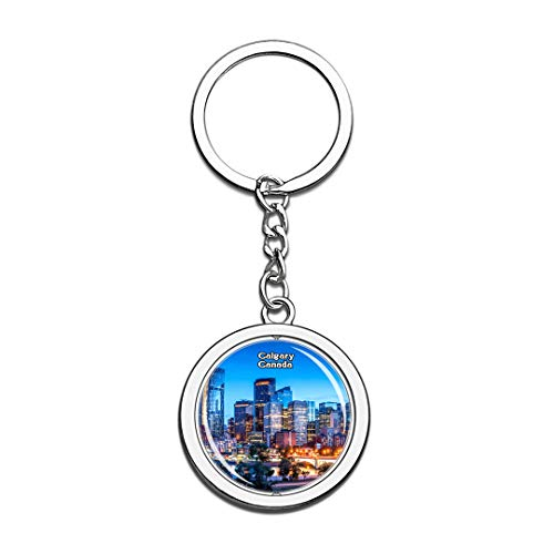 Keychain Calgary Canada Keychain 3D Crystal Spinning Round Stainless Steel Keychains Travel City Souvenir Key Chain Ring]()