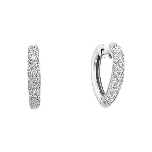 Round Pave Set Heart Earrings (14kt White Gold Womens Round Pave-set Diamond Heart Hoop Earrings 1/2 Cttw (I2-I3 clarity; J-K color))