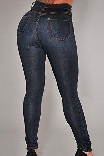 Mujeres Pantalones Vaqueros Apretados Pantalones De Cintura Alta Black
