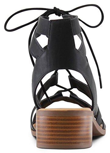 MARCOREPUBLIC Zurich Open Toe Gladiator Chunky Block Stacked Heels Sandals - (Black) - 8.5 by MARCOREPUBLIC (Image #5)