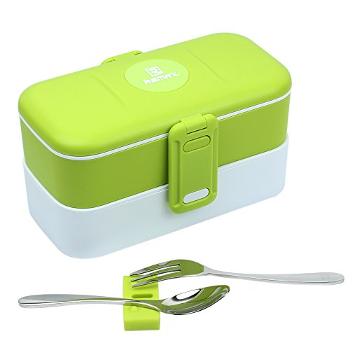 (Bento Lunch Box, Matacol Leakproof Bento Box with Stainless Steel Fork & Spoon and 2-Layer Design Lunch Box, BPA Free Safe for Microwave and Dishwasher Ideal for For Kids Adults)