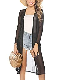 Abollria Women's Long Sleeve Cardigans Open Front Draped Kimono Loose Cardigan