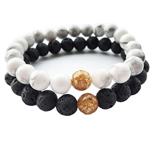 White Turquoise&Lava Volcanic Stones Couples His and Hers Couple Bracelet Distance Bracelet (yellow) XIAOLI (Adult Friendship Bracelets)