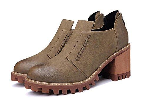Sra 5 alto US7 de otoño 5 la con La cuero cabeza y tacón CN38 zapatos de de redonda gruesos UK5 EU38 zapatos de Sra primavera de qXRSHa