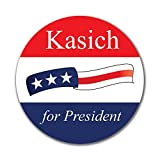 Election 2016 John Kasich Waving Flag 4in. Round Sticker