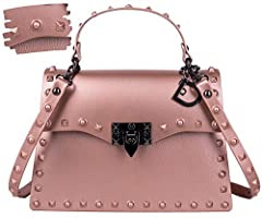 dasti pink gold jelly bag for women shoulder crossbody bag dasti studded designer's purse for women for daily routine and casual business work shoulder riveters strap is detachable and handbag for cocktails leather and mat jelly purse is pvc ...