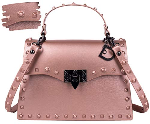 (DASTI Designer Inspired Pink Riveters Rocker Rivet Punk shoulder bag Motorcycle Handbags Crossbody purse for women Studded Bolsos carteras de mujer en oferta de marcas )