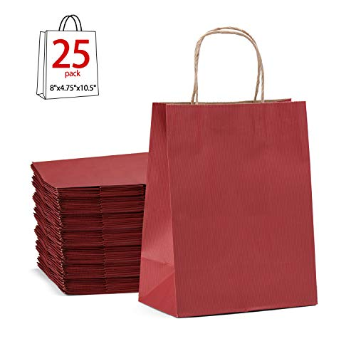 GSSUSA Kraft Gift Paper bags with handle, Shopping Retail bag , 8x4.75x10.5inches Merchandise Bags , Pack of 25 (Red)