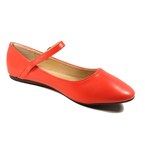 Nova Utopia Dames Mary Jane Style Ballet Flats Mjnew - Rood