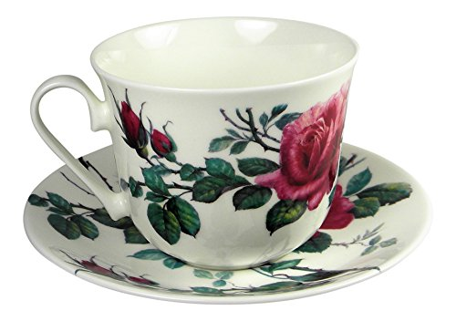 - Roy Kirkham Breakfast Tea Cup and Saucer Set Fine Bone China English Rose England