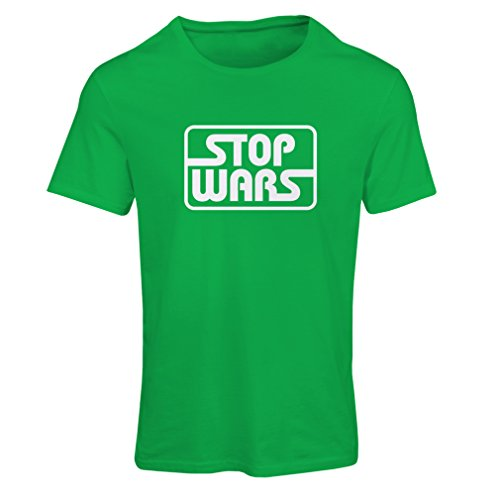 lepni.me T Shirts for Women Political - Stop Wars - Peace Quotes, Anti war Slogans (Small Green White)