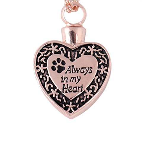 "- ManxiVoo ""Always in my Heart""Dog Footprint Ashes Memorial Necklace Urn Cinerary Casket Cremation Pendant (Rose Gold)"
