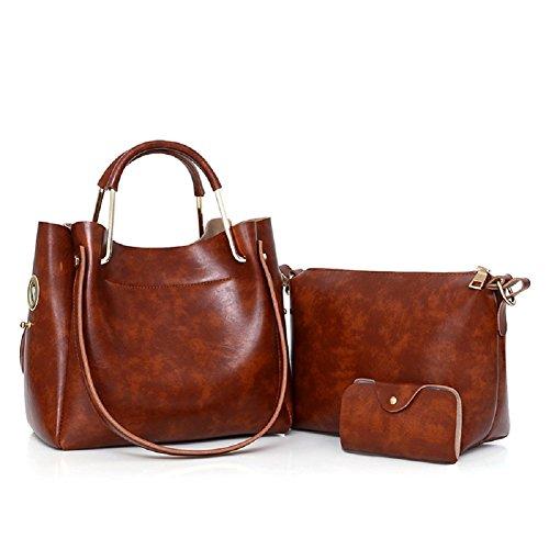 Fuweiencore Retro Bag Ladies Solid Three-piece Shoulder Bag (color: Gray Size: One Size) Color Brown