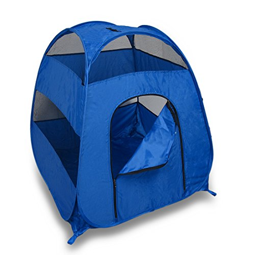 Blue-Portable-Pop-Up-Pet-Tent-Medium-Large-Dogs-Cats