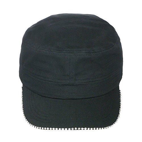 Back Cadet Cap - Women's Rhinestone Outline Crystal Brim Velcro Back Cadet Military Cap Hat - Black