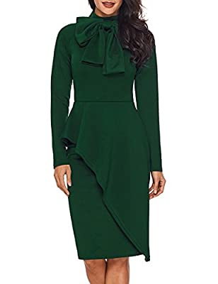 CICIDES Womens Tie Neck Peplum Waist Long Sleeve Bodycon Business Dress(S-XXL)