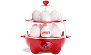 Dash Deluxe Rapid Egg Cooker: 12 Egg Capacity Electric Egg Cooker for Hard Boiled Eggs, Poached Eggs, Scrambled Eggs, Omelets, Steamed Vegetables, Seafood, Dumplings & More w/Auto Shut Off Feature Red
