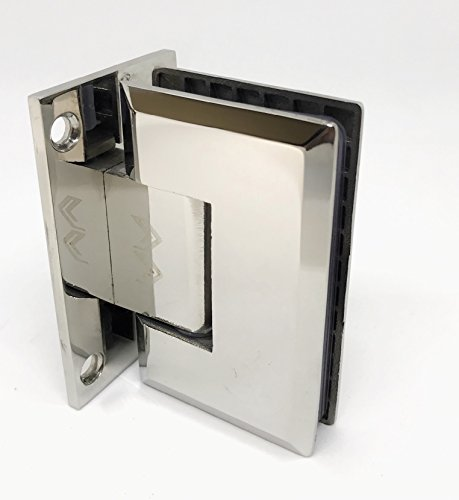 """Glass Door Hinge / Shower Door Hinge - Beveled detailed edges - Self Closing Mechanism-for 3/8"""" & 1/2"""" Glass - 304 Stainless Steel-180 degree opening - Full Back Plate - - Shower Hinge Doors Frameless"""