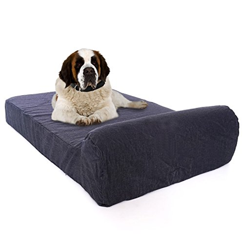 XXXL-Large Luxury 7 inch Gel Memory Foam Orthopedic Dog Bed with Bolster | 100% USA Made with Certi-Pur Non-Toxic Foams | Engineered for Large Breed Dogs Provide Support & Comfort