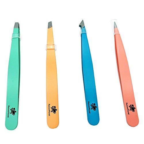 AwsumPlanet 4-Pieces Professional Stainless Steel Tweezers with Travel Case - Best Precision Eyebrow and Splinter Ingrown Hair Removal Tweezer Tip