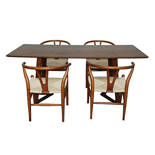 ModMade MM-GT244LWN-WS001WN 5 Piece Modern V Table Dining Set, Walnut