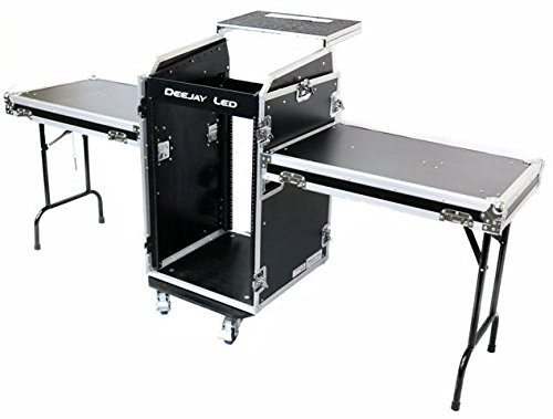 DEEJAYLED TBH Flight CASE 11U Slant Mixer 16U Vertical Rack System W/Caster Board & 2XSIDE Tables & Laptop Shelf (TBH11M16UCT2LT) ()