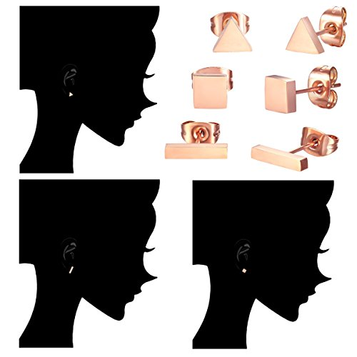 Rectangle, Square, Triangle SPINEX 3 Pairs Stainless Steel Rose Gold Stud Earring Set Pierced B0746KYLPV/_US