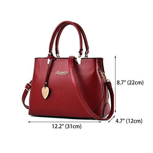 Womens Shoulder Red Burgundy Size Bag M Deerword w6SUdq5