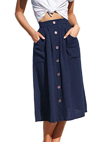 Naggoo Womens Casual Front Button A-Line Skirts High Waisted Midi Skirt with Pockets(S,Navy Blue)