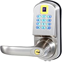 EZlock ELC03 Backlit Fingerprint Keyless Door Lock with Passage Function and Voice Setting Guidance, Satin Nicke - Left Handle